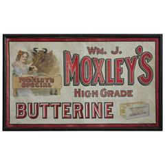 1900s Advertising Moxley's Butter Canvas Sign
