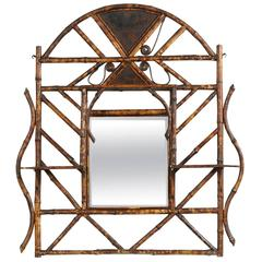 19th Century English Burned Bamboo Powder Room Mirror