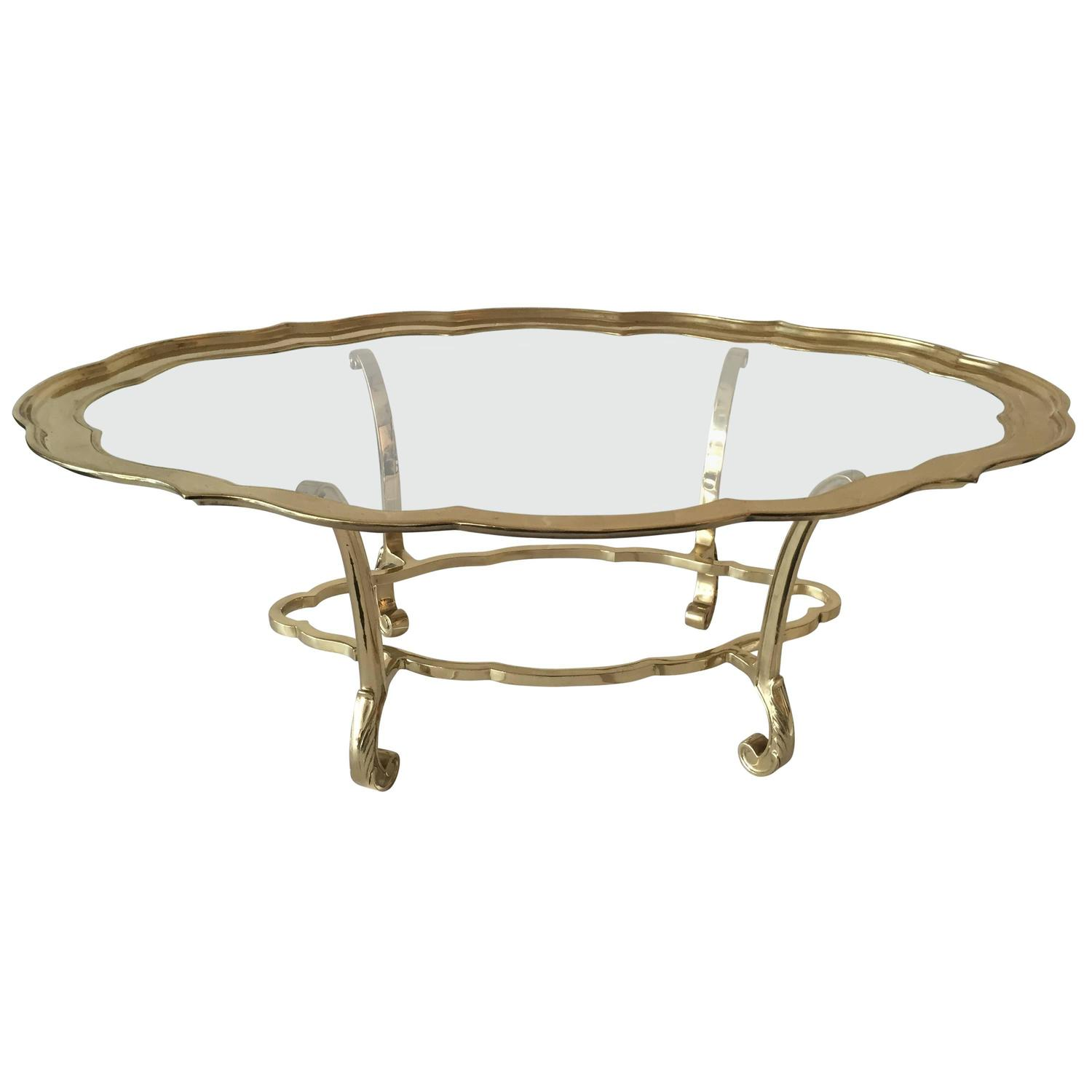 Brass And Glass Tray Cocktail Table At 1stdibs