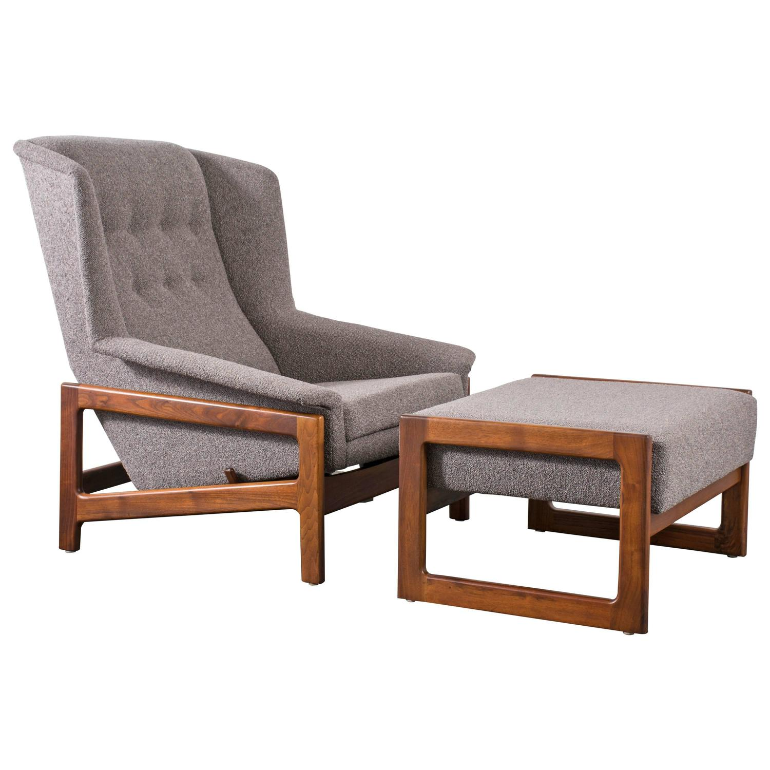 Mid Century Chair And Ottoman: Vintage Mid-Century Lounge Chair And Ottoman By DUX At 1stdibs