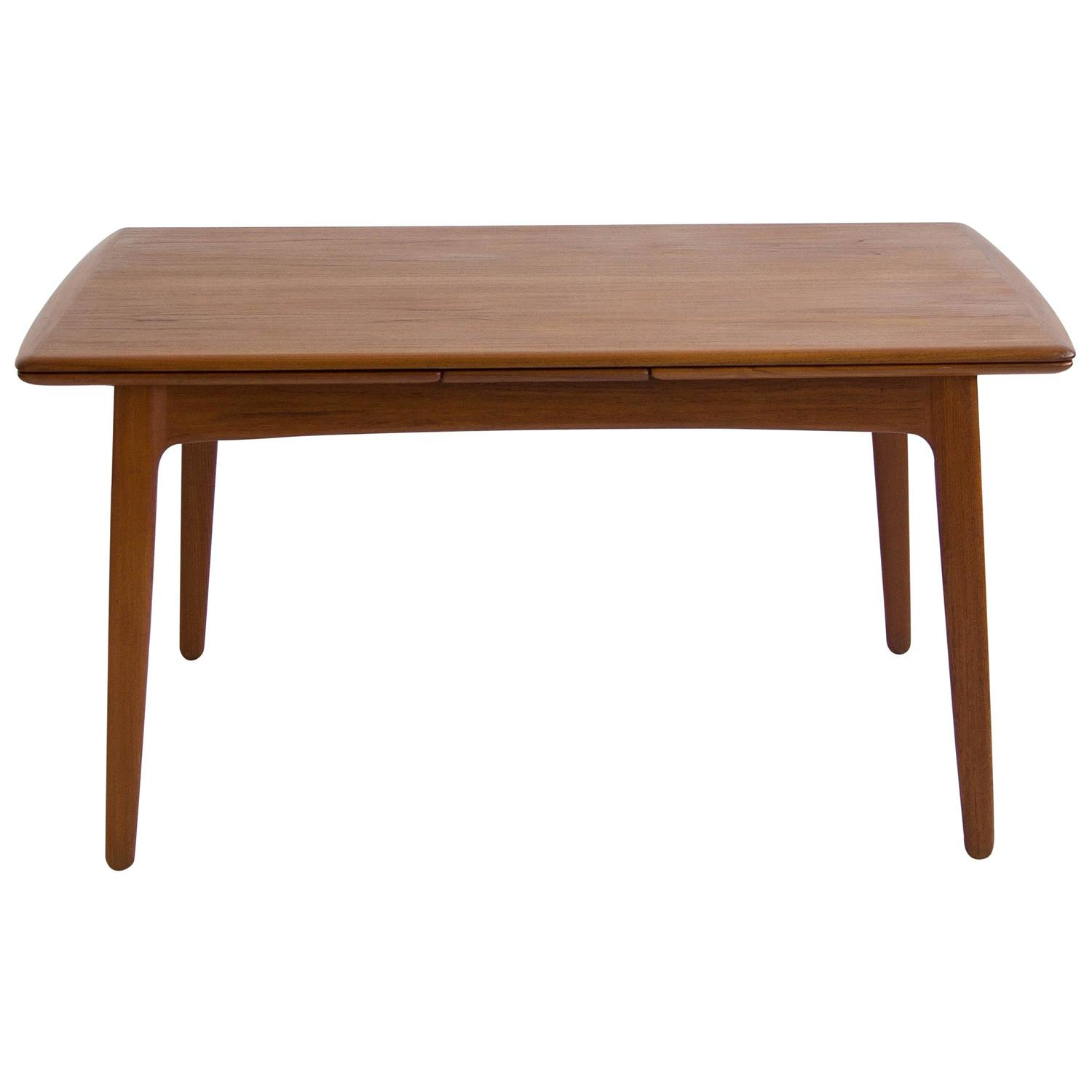 Svend madsen teak draw leaf dining table at 1stdibs for Dining room table replacement leaf