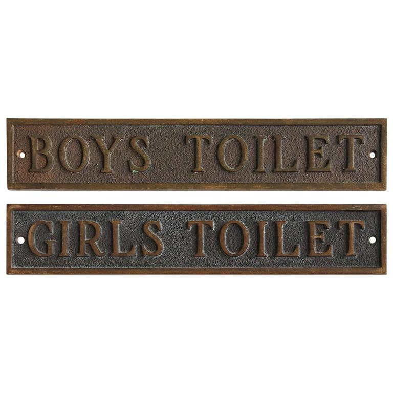 Antique School Restroom Bronze Signs at 1stdibs