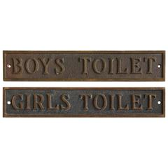 Antique School Restroom Bronze Signs