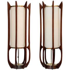 Pair of Tall Sculptural Midcentury Table Lamps by Modeline
