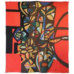 Large Modern Tapestry by Genaro de Carvalho