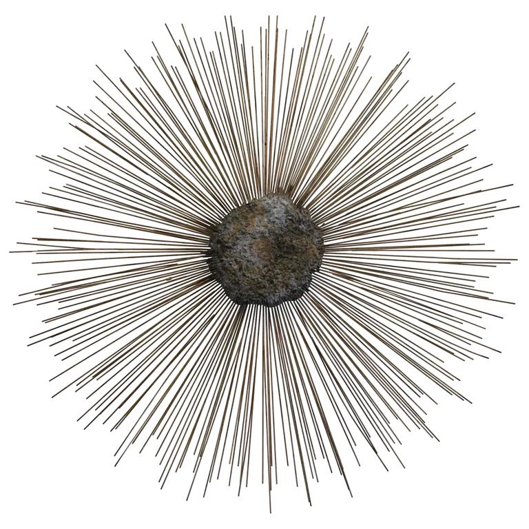 Curtis Jere Vintage Brass and Bronze Brutalist Starburst Wall Hanging Metal