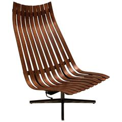 "1960s ""Scandia"" Swivel Lounge Chair in Rosewood by Hans Brattrud for Hove Mobler"