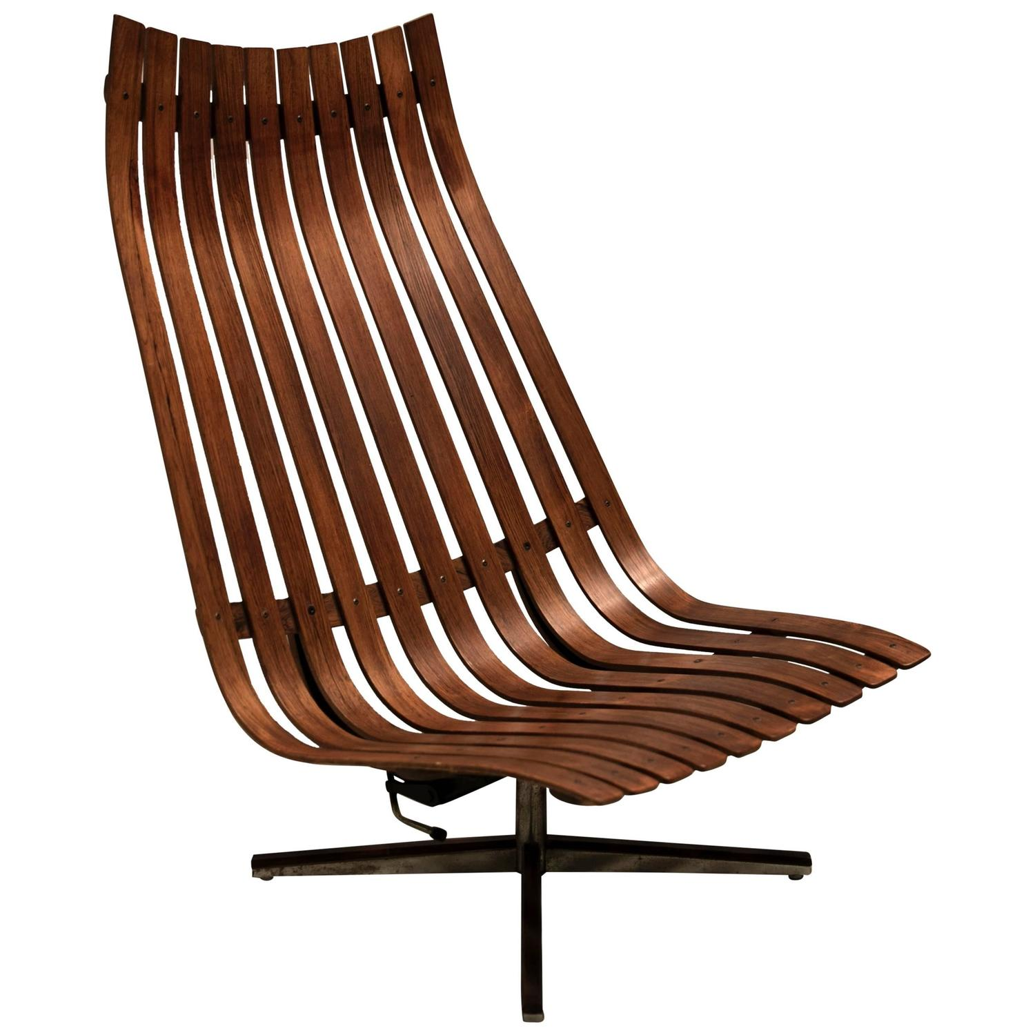 1960s Scandia Swivel Lounge Chair In Rosewood By Hans Brattrud For Hove Mob