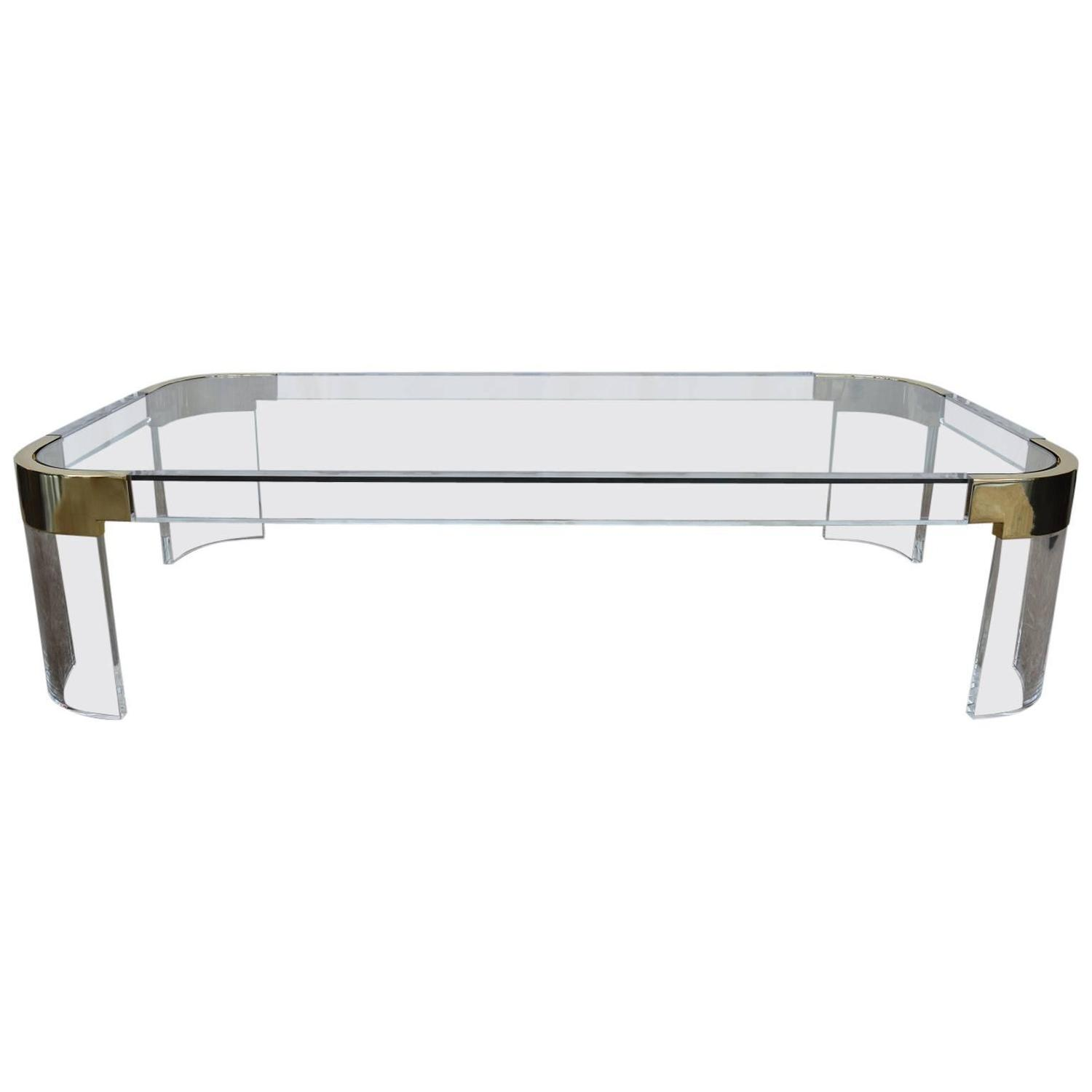 Lucite And Brass Charles Hollis Jones Coffee Table Waterfall Line At 1stdibs
