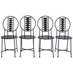 Set of Wrought Iron Chairs in the Style of Frank Lloyd Wright's Midway Chair