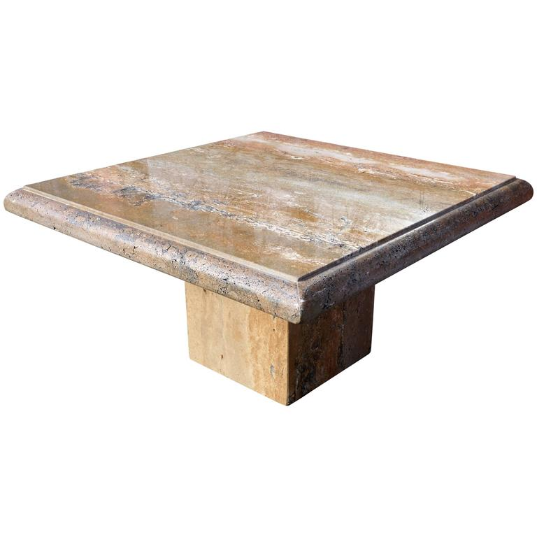 Italian Square Travertine Coffee Table For Sale At 1stdibs