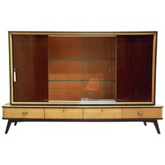 Large German Exotic Wood and Glass Bar/Display Cabinet, Germany, circa 1950