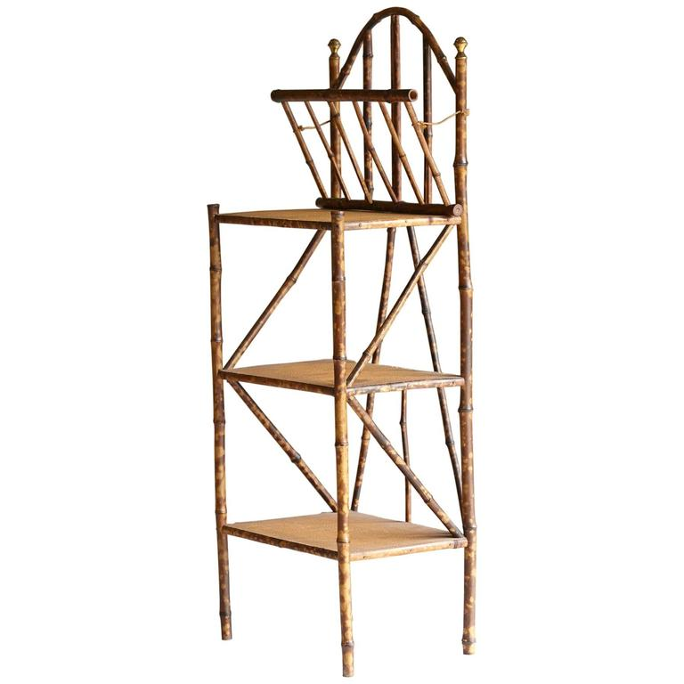 19th century english bamboo etagere with retractable magazine compartment at - Etagere cases carrees ...