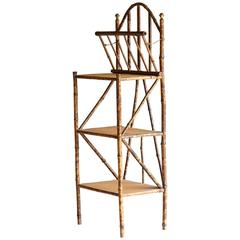 19th Century English Bamboo Etagere with Retractable Magazine Compartment