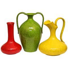 Three Vintage Italian Pottery Atomic Monochrome Vases for Rosenthal-Netter