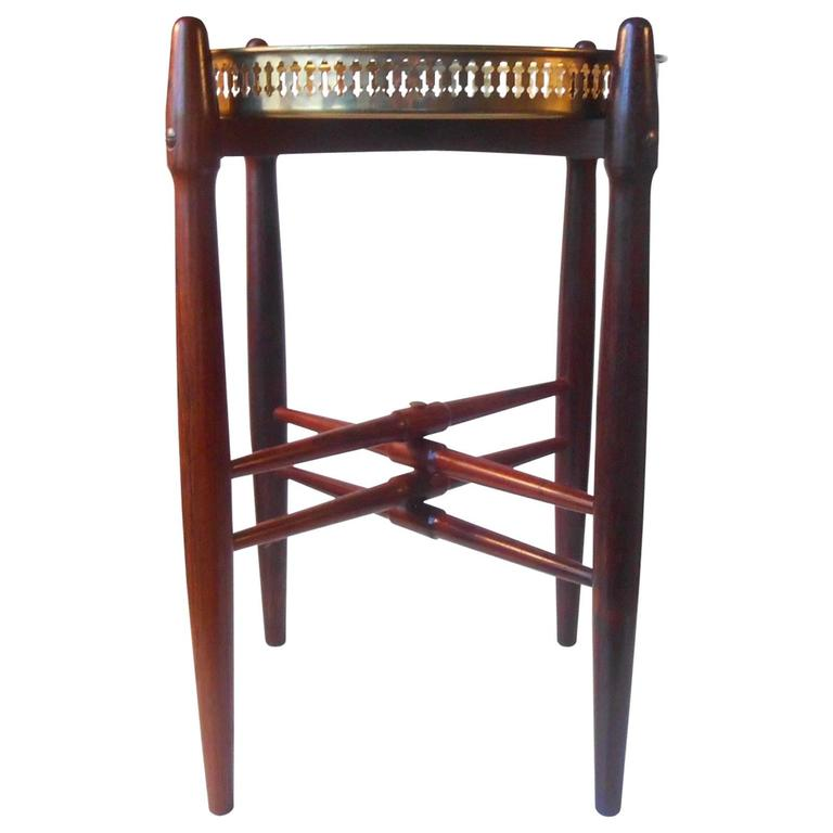 1960s Rosewood Side Brass Tray Table, Danish Modern by Poul Hundevad