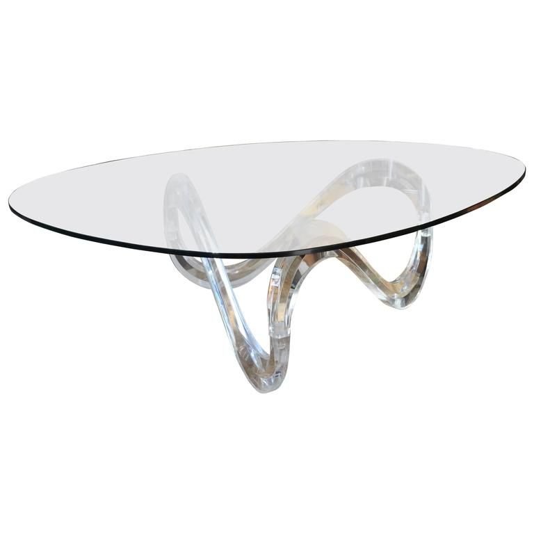 Mid-Century Lucite Ribbon Coffee Table At 1stdibs