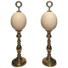 Pair of Ostrich Egg Finials