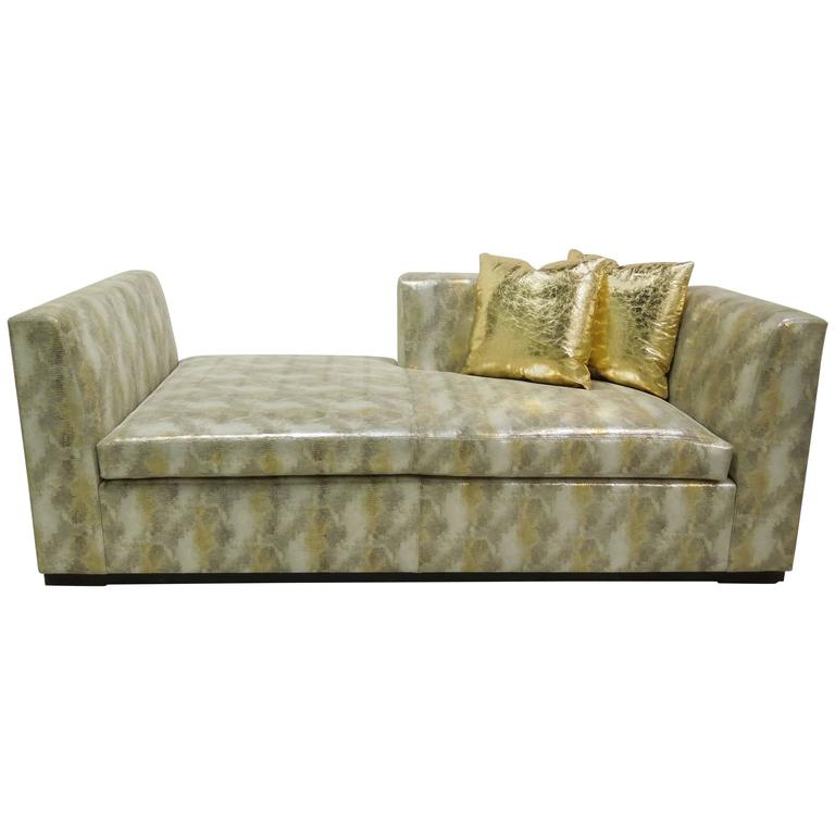 Contemporary Custom Made Modern Metallic Leather Sofa/Chaise