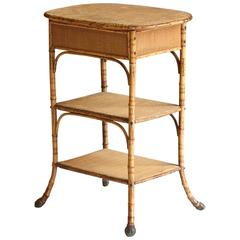 19th Century English Bamboo Petite Étagerè or End Table with Lidded Top
