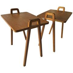 Pair of Mid-Century Unusual Oak Tray Style Tables with Compass Legs and Handles