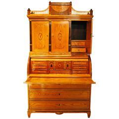 Antique Danish Elm Cylinder Bureau Cabinet, circa 1800