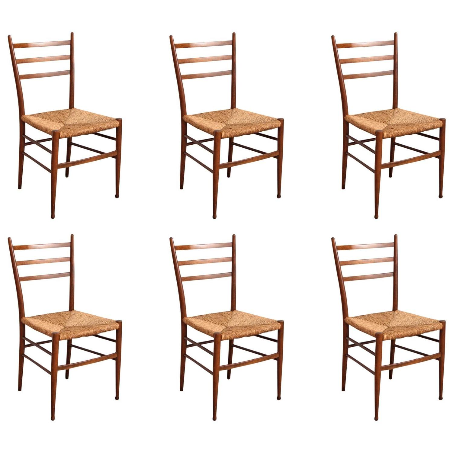 Six italian modern dining chairs gio ponti style at 1stdibs for Italian dining chairs modern
