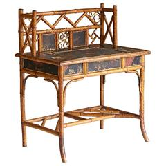 Late 19th Century English Bamboo Desk with Elaborated Details and Features