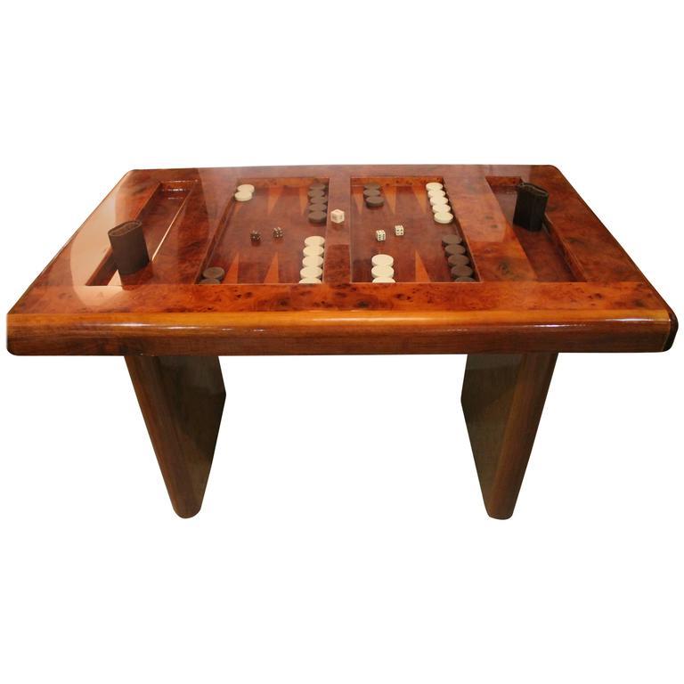 Ordinaire Mid Century Modern Burl Wood Backgammon Game Table For Sale