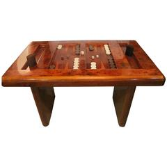 Burl Wood Vintage Game Table Backgammon Mid-Century Modern Burl Wood