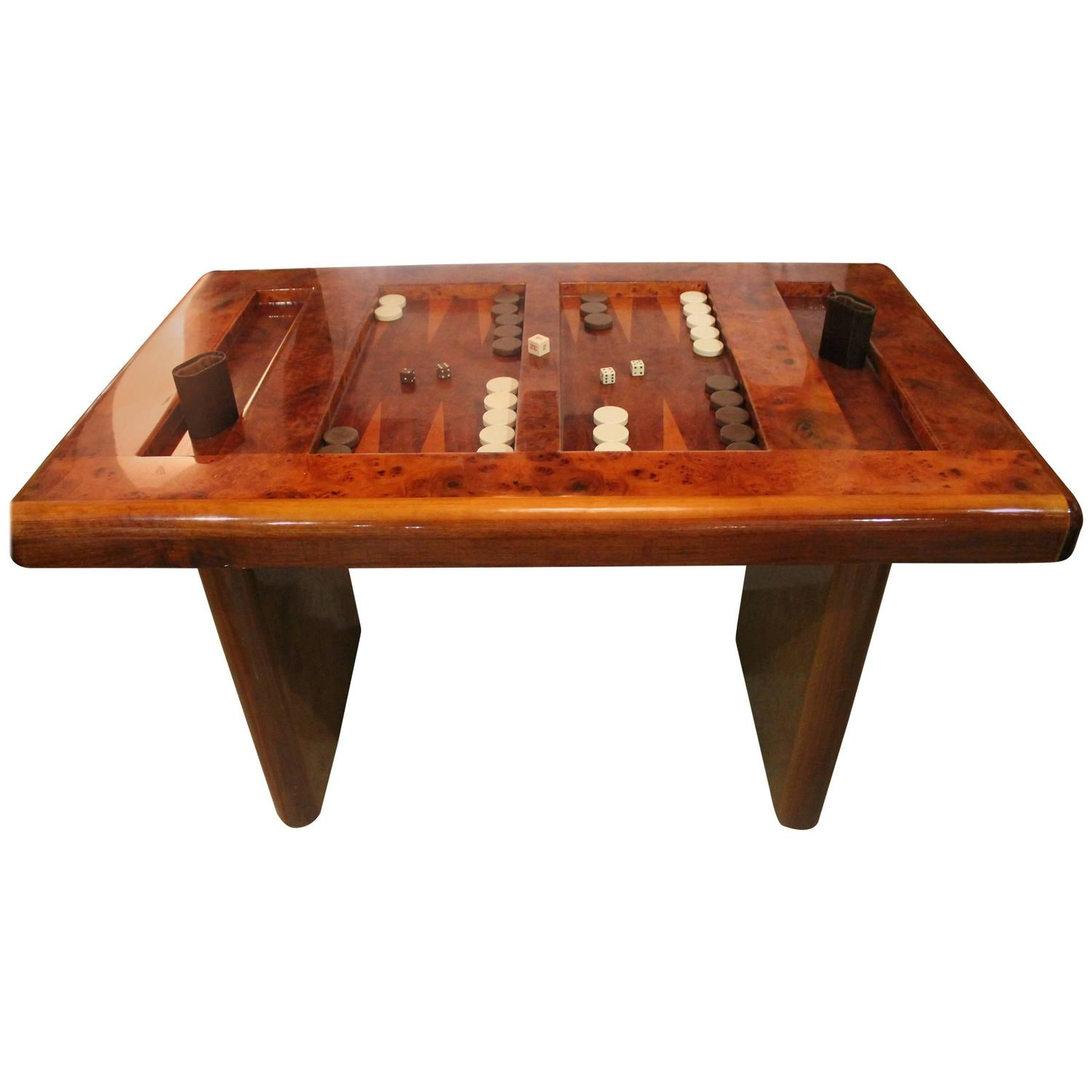 Mid century modern burl wood backgammon game table for