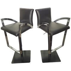 Pair of Mid-Century Modern Style Chrome and Leather Stools