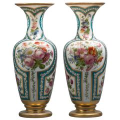 Pair of French Opaline Vases, Baccarat, circa 1840