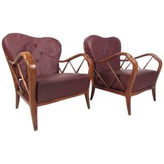 Pair Italian Modern Paolo Buffa Style Lounge Chairs