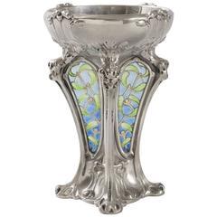 French Art Nouveau Plique-à-Jour Enamel and Silver Vase by Descomps