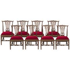 Set of 8 English Dining Chairs in the Georgian Gothick Manner