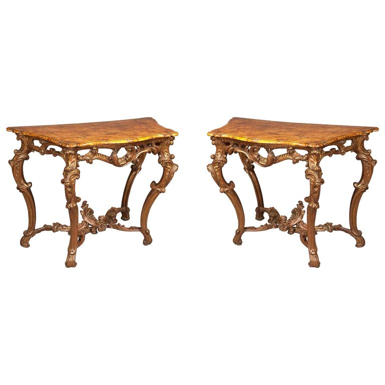 Pair of 18th Century Italian Rococo Giltwood Console Tables