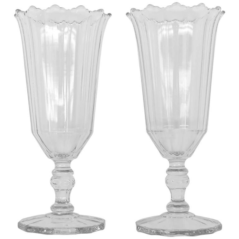 Pair Of American Clear Glass Celery Vases Circa 1880 At 1stdibs