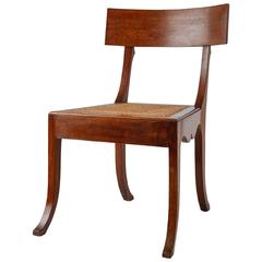 Ole Peter Momme Oak and Cane Klismos Chair, Denmark, 1880s