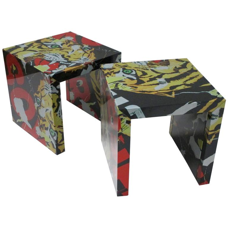 """Pair of """"Decollage"""" Metal Side Tables by Mimmo Rotella and Marco Ferreri 1"""