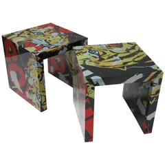 "Pair of ""Decollage"" Metal Side Tables by Mimmo Rotella and Marco Ferreri"