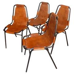 "Charlotte Perriand, Four ""Les Arcs"" Cognac Leather Chairs, 1960s"