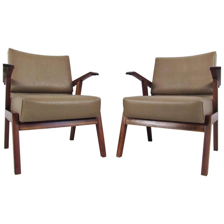 Pair Vintage Modern Italian Armchairs  For Sale