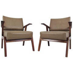 Pair Vintage Modern Italian Armchairs