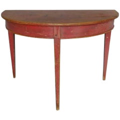 Painted Swedish Gustavian Demilune Table