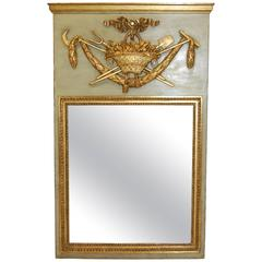 Early 20th Century Trumeau Mirror in Original Green Paint and Gold Finish