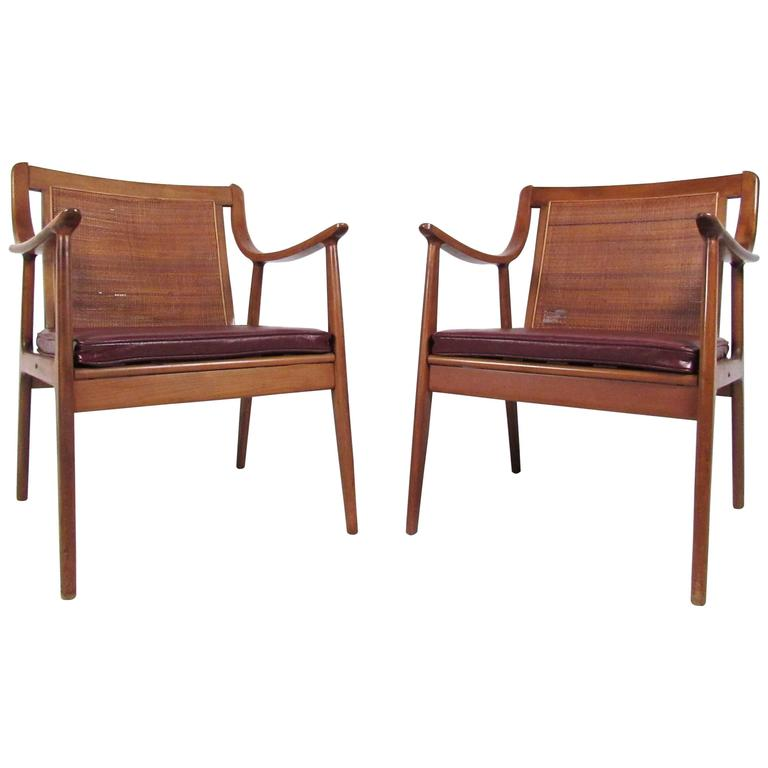 Pair Vintage Modern Cane Back Armchairs For Sale