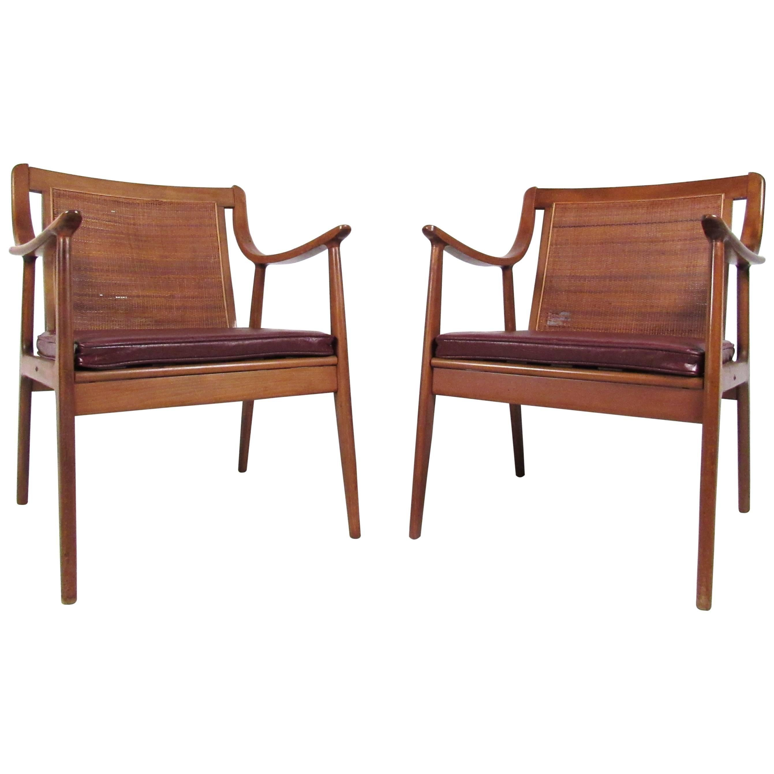 Pair Vintage Modern Cane Back Armchairs