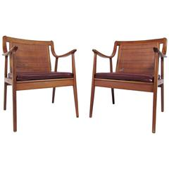 Pair Vintage Modern Cane Back Armchairs