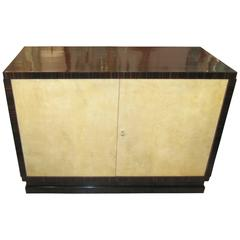 Italian 1940s/ 1950s Parchment and Macassar Ebony Cabinet